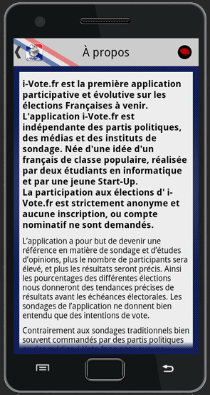 Capture d'écran Android de l'application i-Vote.fr