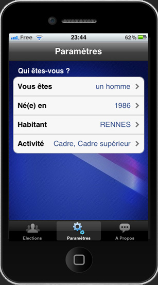 Capture d'écran iPhone de l'application i-Vote.fr